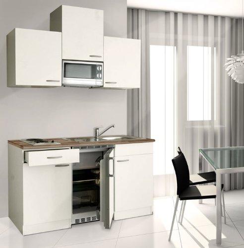 respekta Küchenblock 150 cm weiß weiß Ceran mit APL Butcher Nussbaum inkl. Mikrowelle KB 150 WWMIC