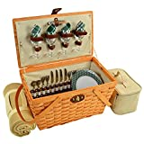 Picnic at Ascot Settler Traditional American Style Picnic Basket With Blanket, Green Plaid