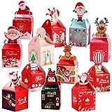 YLLN dekorative 12PCS Weihnachtsgeschenkboxen dekorative Festliche Papierschokoladenhalter Geschenkverpackungsboxen Süßigkeitenbehälter (zufälliges Muster)