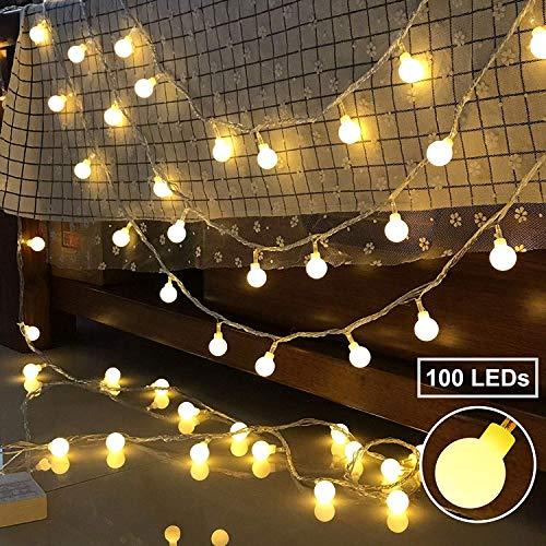 100 LED Lichterkette strombetrieben, BeauFlw Globe Lichterkette, Wasserdichte Innen und Außen Lichterkette glühbirne Fernbedienung, Lichterkette für Weihnachten Hochzeit Party(warmweiß)