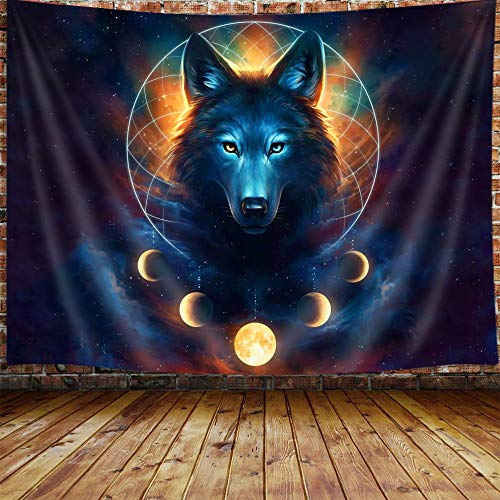 Wolf Moon Tapestry, Fantasy Animal Dreamcatcher Cool Galaxy Tapestry Wall Hanging for Men Girls Bedroom, Aesthetic Hippie Tapestries Poster Blanket College Dorm Home Decor 60X40 Inches