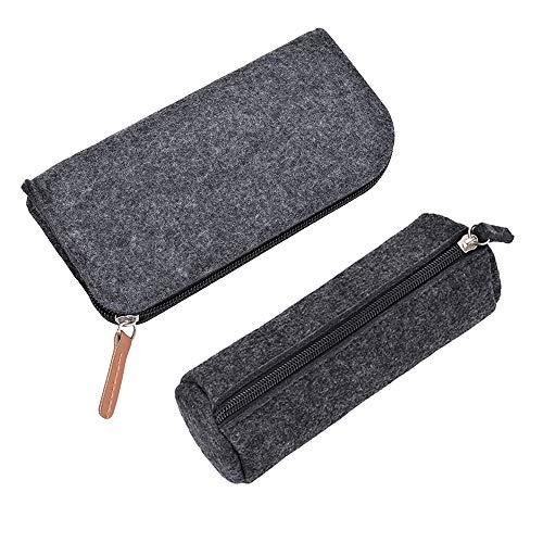 2 Piezas Bolso de Fieltro Lápiz,Estuche Bolsa de Lápiz, Multi-Funcional papelería Bolsa Zipper para Bolígrafos, Lápices, Bolígrafos de Gel, Marcadores (Gris)