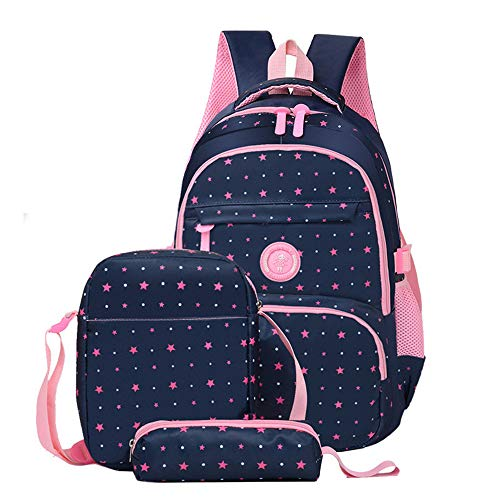 Fanci 3Pcs Star Prints Waterproof Primary School Backpack for Girls Polka Dot Elementary Bookbag Rucksack
