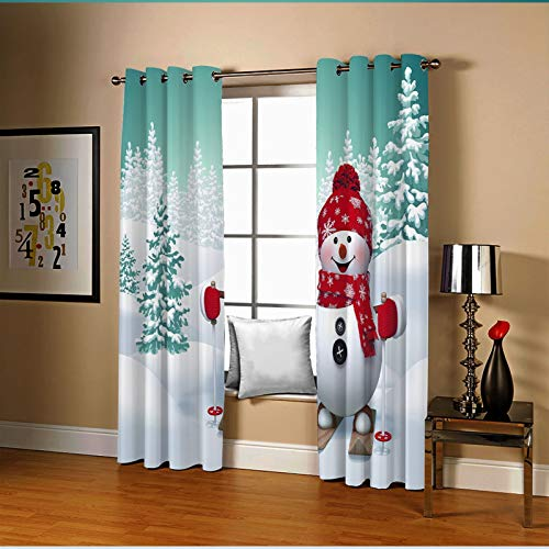 Amody Cortina Habitacion Opaca, Cortinas Termicas para Dormitorio Monigote de Nieve con Árboles Cortina Azul Rojo BlancoCortinas de Dormitorio Juvenil 274x160CM