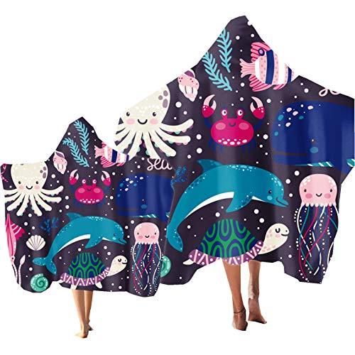 Toalla con Capucha para Niños Oceano Animal Delfín Impresión , Poncho Toalla de Baño Natación, Toalla Suave para Niños de Vacaciones de Playa, Toalla para Niña Niños (Color 5, Niño & Adulto 2PCS)