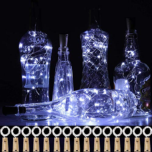 Chipark Bottle Lights with Cork, 15 Pack Cork Shaped Battery Operated Wine String Lights Silver Wire Fairy Mini DIY Lights for Party Birthday Christmas Wedding Home Table Décor, Cool White