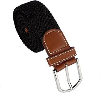 Men Braided Elastic Stretch Metal Buckle Belt Waistband