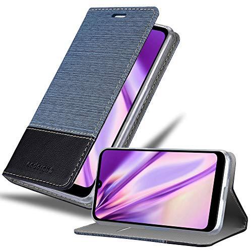 Cadorabo Hülle für LG Q60 in DUNKEL BLAU SCHWARZ - Handyhülle mit Magnetverschluss, Standfunktion & Kartenfach - Hülle Cover Schutzhülle Etui Tasche Book Klapp Style