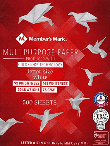 Member's Mark Copy Paper, Fax Copier Laser Inkjet Printer, 8 1/2 x 11 Inch Letter Size, 20 Lb. Density, 92 Brightness, Acid Free, SFI Certified, Made in USA, Ream, 500 Total Sheets (MM191714-Ream)