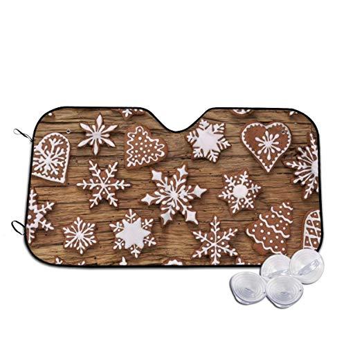 YJWLO Kerst Chocolade Cookie Auto Voorruit Opvouwbare UV Ray Reflector Auto Voorruit Cover Zonneklep Protector Met Twee Maten Medium Kleur: wit