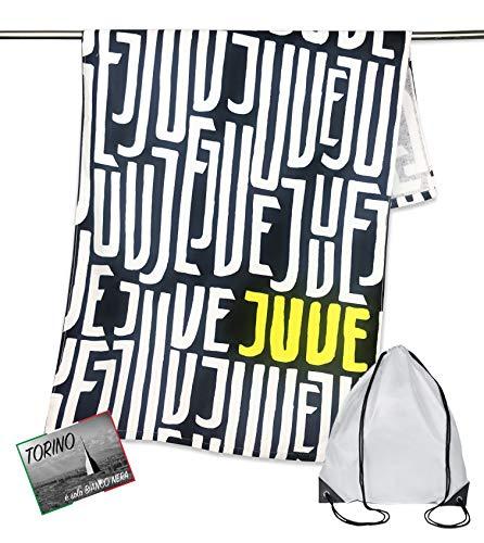 Tex family Telo Mare Sport Juve Scritte Misura CM.70X140 Originale Juventus con Zaino PORTATELO e Cartolina Torino È