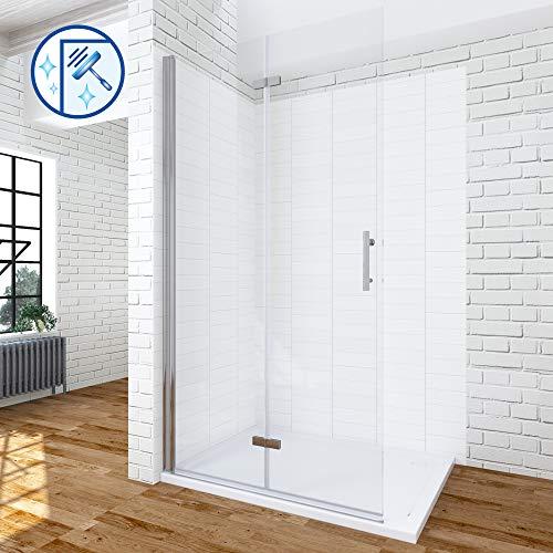 AQUABATOS® 85 cm breite Duschabtrennung faltbar Duschwand Glas Walk in Dusche klappbar Duschtrennwand Faltwand Faltdusche Glaswand Falttür 6 mm ESG Sicherheitsglas mit Nano Beschichtung höhe 195 cm