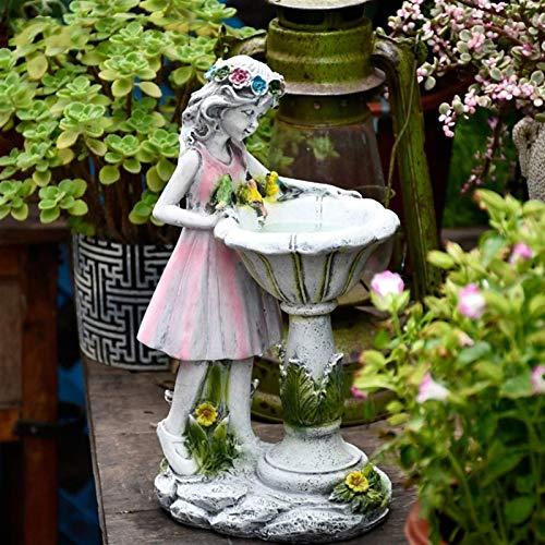 LUYIYI Harz Engel Figur, Skulptur, Blume, Fee, Solardekor, Kranz, Mädchen, Statue, Straßenvilla, Hof, Gartenarbeit, Landschaftsdekoration (Size : Large)