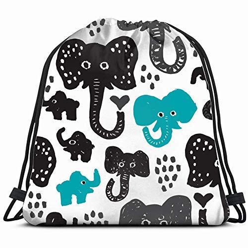 WANGKG koele grunge stijl olifant dieren wilde dieren Trekkoord Rugzak Gym Sack Lichtgewicht Tas Waterbestendig Gym Rugzak voor Vrouwen & Mannen voor Sport, Reizen, Wandelen, Camping, Winkelen Yoga