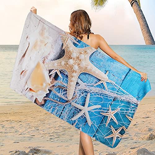 Microfiber Sea Life Beach Towel, Sand Free Seashell Beach Towels Oversized, Water Absorbent Starfish Bath Towel, Sup Soft Bathroom Towel for Men, Women, Travel, Swim, Camp, 31.5 x 59.1 Inch