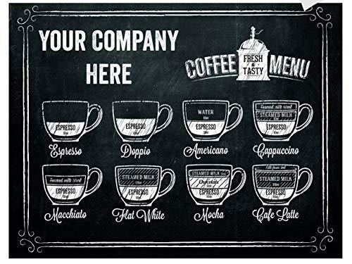 SUPERSTICKI Personaliseerbare naam bedrijf koffie menu kaart 40x30cm sticker autosticker tuningsticker high-performance folie voor alle gladde oppervlakken UV en wasstraatbestendig Tuning Pro