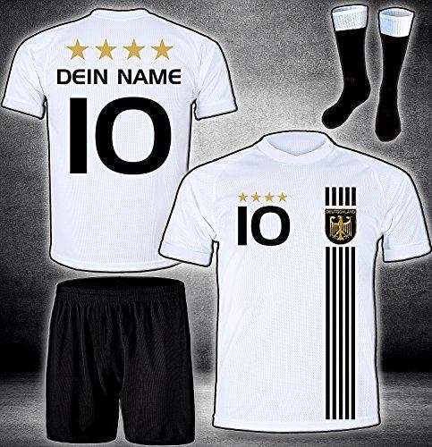 DE-Fanshop Deutschland Trikot Hose Stutzen mit GRATIS Wunschname Nummer Wappen Typ #D 2017 im EM/WM Weiss - Geschenke für Kinder,Jungen,Baby. Fußball T-Shirt personalisiert
