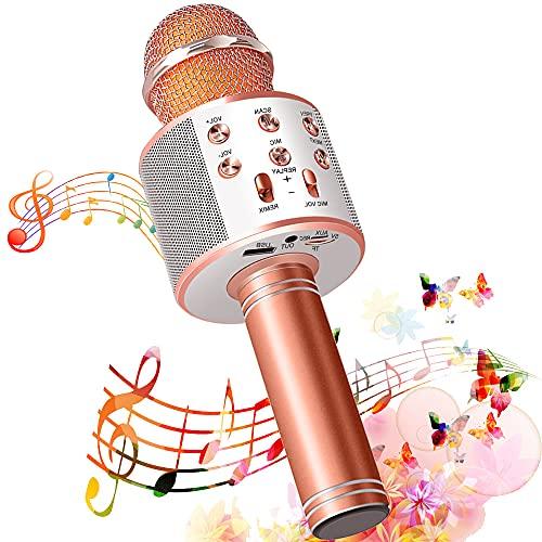 SunTop Karaoke microfoon Bluetooth met 5W luidspreker, draadloze microfoon met dubbele functie voor kinderen en…
