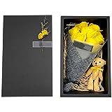 PQZATX Conjunto de Flores de JabóN Hecho a Mano Caja de Regalo de Oso DíA de San ValentíN Ramo de Flores de JabóN Regalo de Cumplea?Os del DíA de la Madre/Maestro Amarillo