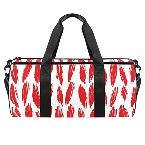 Travel Beach Bags, Large Sport Gym Overnight Duffle Red Yarn Thread Pattern Abstract Print Shoulder Bag with Dry Wet Pocket