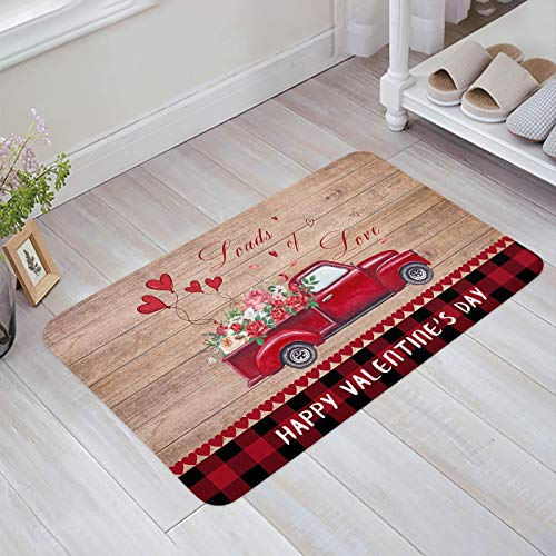 Alfombra estera del piso Tapetes Felpudo Camión Vintage Lleva Rosas y Amores Dentro del País Tablero de Madera Red Buffalo Plaid alfombras 40X60CM