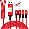 Amuvec USB A/C to 4 in 1 Multi Charging Cable, PD Fast Charger with Type C (QC3.0 Data Sync)/2 iP/Micro Port for Phone 11 Pro Max Samsung Galaxy S10 S9 S8 Google Pixel Huawei Tablet Android and More