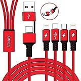 Amuvec USB C zu C PD Schnellladekabel,Universal Multi-Ladekabel USB A/C zu Mehrfachkabel 4 in 1 Typ C(QC3.0 Data Sync)/2 Phone/Micro Mehrere Anschlüssefür Samsung Galaxy Google Pixel Huawei & Mehr