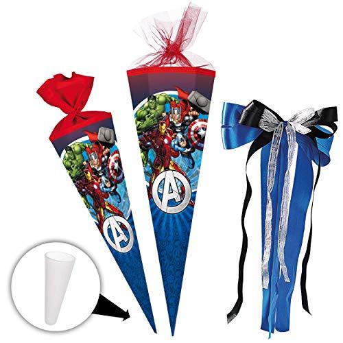 alles-meine.de GmbH Schultüte -  The Avengers - Assenble Avenger  - 85 cm - eckig - incl. große Schleife - Tüllabschluß - Zuckertüte - mit / ohne Kunststoff Spitze - Nestler - ..