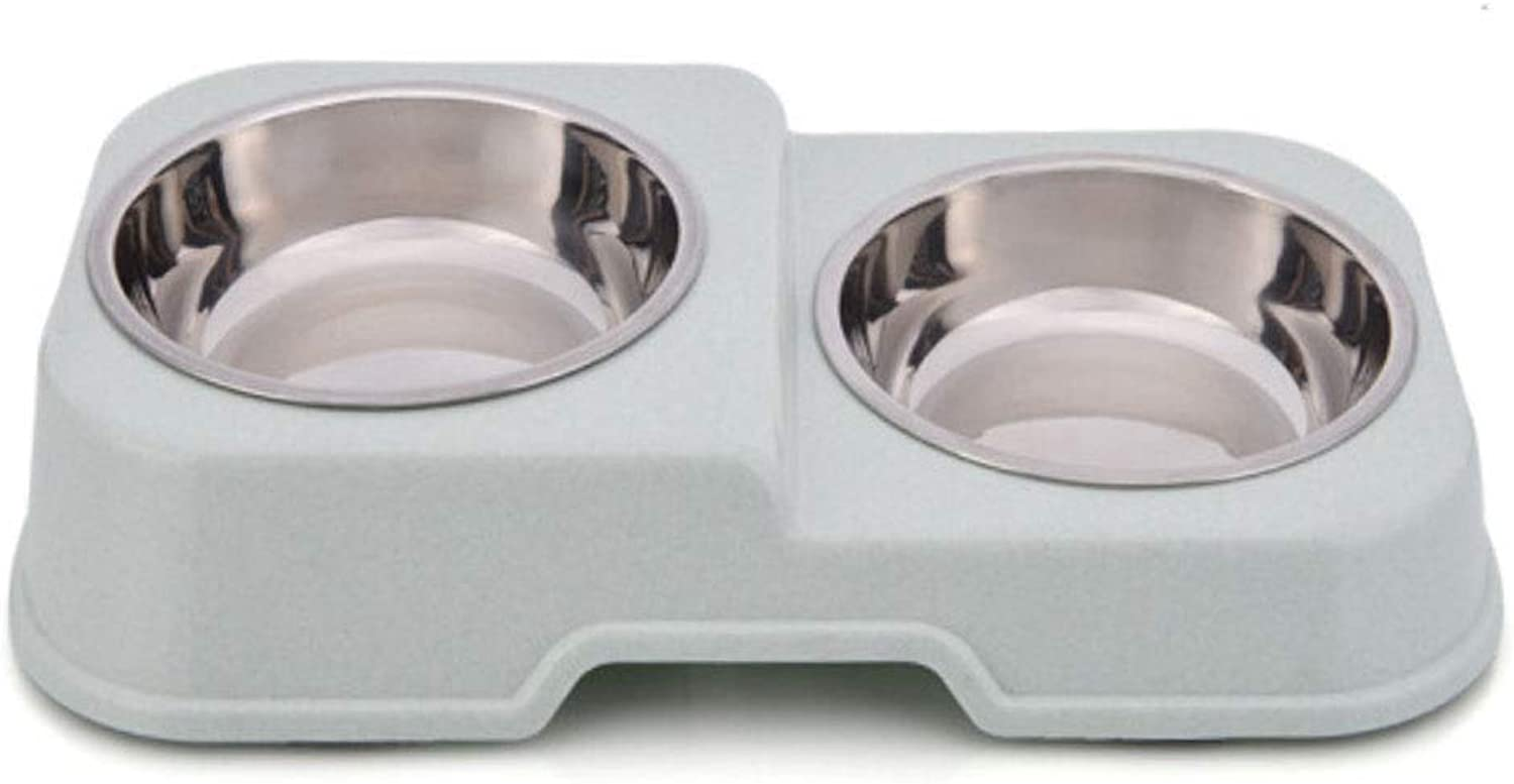 Pet Bowl,No Spill NonSkid Feeding Stations,Pet Feeder,Stainless Steel Bowl,Suitable for Cats or Small Dogs,Three colors are Available (color   Green)