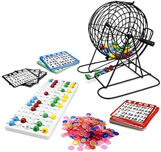 Royal Bingo Supplies Jumbo Bingo Set - 9-Inch Metal Cage with Calling Board, 75 Colored Balls, 500 Bingo Chips, & 100 Bingo Cards for Large Group Games