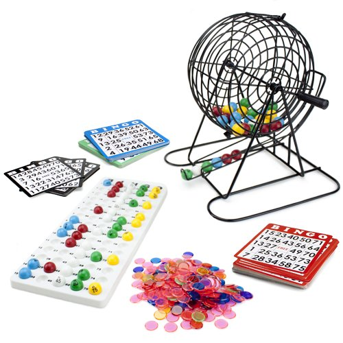 Royal Bingo Supplies Jumbo Bingo Set - 9-Inch Metal Cage with Calling Board, 75 Colored Balls, 500 Bingo Chips, 100 Bingo Cards for Large Group Games