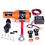 Rhino Cabrestante Eléctrico 1360 Kg Version Naranja - Sistema Inalámbrico- 12V - Cuerda Dyneema Sintética