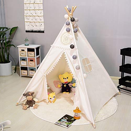 Triclicks Kids Teepee Play Tent Kindertent voor jongens en meisjes, leuke Indiaanse tent voor kinderen draagbaar Schattig,Indian Playhouse Tipi Camping Tent