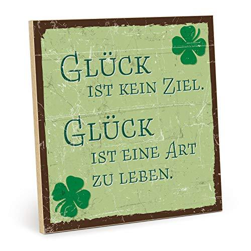 TypeStoff Placa de madera con frase en inglés – Suerte – Vintage – Regalo y decoración temática motivacional, higge y objetivo.
