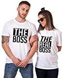 Matching Couple Shirts-The BOSS&The Real BOSS Shirts-His&Her Shirts White