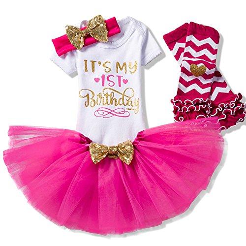TTYAOVO Bebita 1er Cumpleaños Princesa Tutu Falda Ropa Conjunto de 3 Piezas Trajes Mameluco Falda Diadema (Leggings) 4-24 Meses 1 Años 03 Rosa Roja (1 Años)