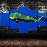 IKDBMUE Cuadro sobre Lienzo - 5 Piezas - Mahi-Mahi Dolphin Pescado bajo el Agua - Ancho: 150cm, Altura: 80cm - Gráfica Decoracion de Pared