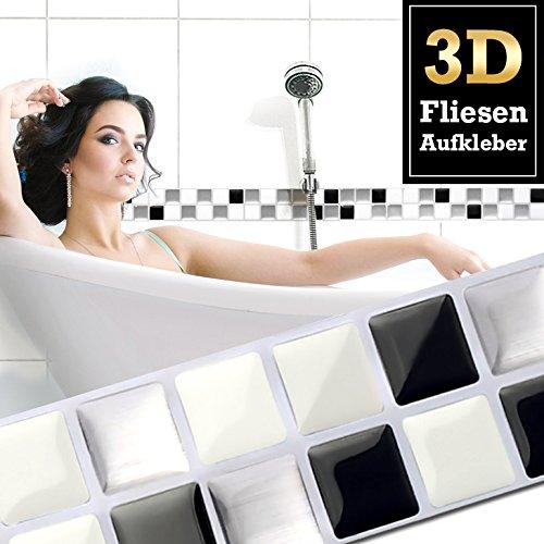 Wandora 7 Stück 25,3 x 3,7 cm Fliesenaufkleber schwarz weiß Silber I Selbstklebende 3D Mosaik Fliesen Küche Bad Fliesendekor Fliesenfolie Wandaufkleber W1426