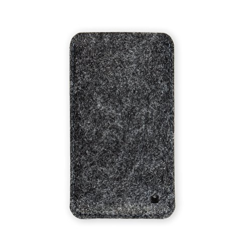 FORMGUT Handy-hülle, Handysocke, Schutzhülle, Tasche Filz aus Filz, passend für iPhone 6 7 8 Smartphone - Phone Bag - Dunkelgrau Schwarz