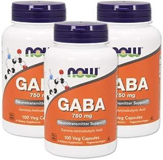 Now Foods 社 ナウフーズ ギャバ GABA 750mg(ベジタリアンカプセル)3本セット [並行輸入品]