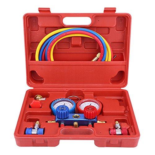 Zerone - Climatizador de coche refrigerante colector, kit medidor y climatizador A/C con mangueras adaptadoras para R134A 5FT sistema de aire acondicionado para coche
