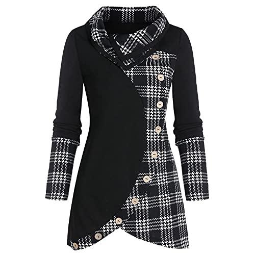 XOXSION Camiseta de mujer con costuras a cuadros, botones irregulares, elegante con cordón, camiseta larga, a...