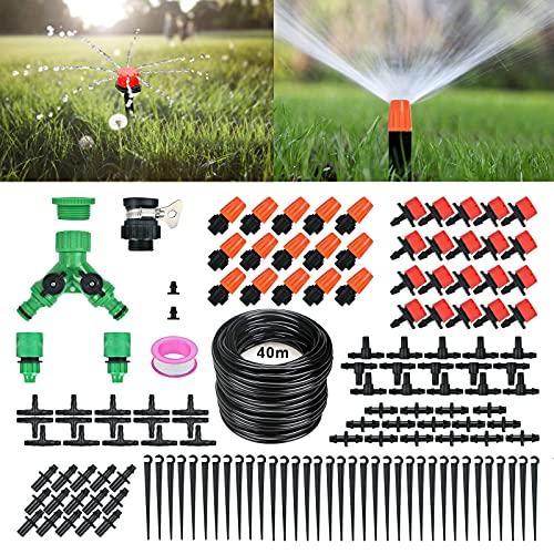 Dereine Bewässerungssystem Garten, 40M Bewässerung Kit Tröpfchenbewässerung Gartenbewässerung 158Pcs Automatische DIY Bewässerungssets mit Drip/Misting für Gewächshäuser, Blumenbeete, Obstbäume Usw