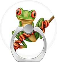LoveStand-Cell Phone Ring Holder 360 Degree Finger Ring Stand for Smartphone Tablet and Car Mount-Cute Green Tree Frog on a Branch on White