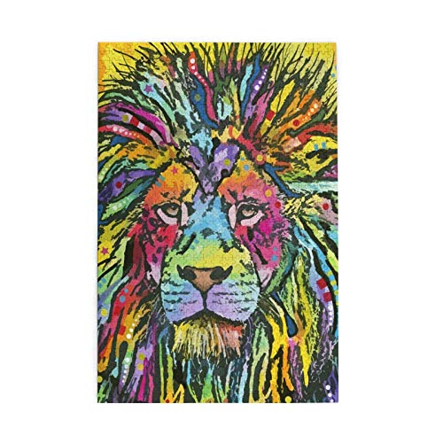 1000 Pieces Jigsaw Puzzle Neons Lion Pictures Puzzle for Adults Teens Large Wooden Puzzle Game Artwork for Home Wall Decoration Photo Frame Box Kids DIY Floor Puzzles