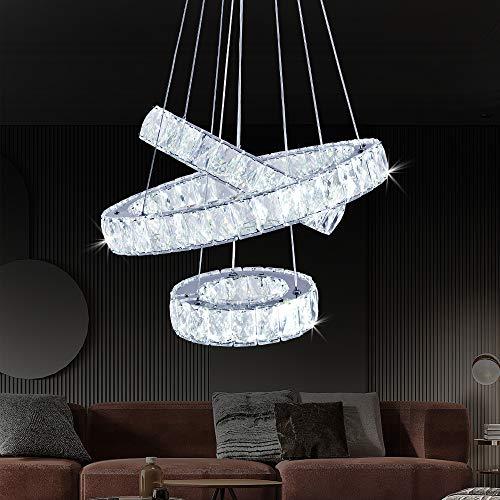Crystal Chandelier Modern DIY Ceiling Light Fixture LED 3 Rings Round Pendant Lighting Adjustable Stainless Steel Ceiling Lamp for Living Room Dining Room Bedroom (20+30+40 Cold White)