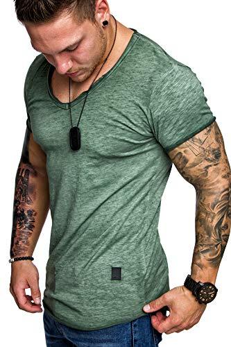 Amaci&Sons Oversize Herren Vintage T-Shirt Verwaschen V-Neck Basic V-Ausschnitt Shirt 6034 Khaki XL
