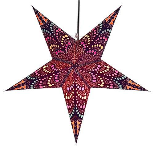 Guru-Shop Faltbarer Advents Leucht Papierstern, Weihnachtsstern 60 cm - Sibelius Blau, Star Fensterdeko, 7 Spitzen