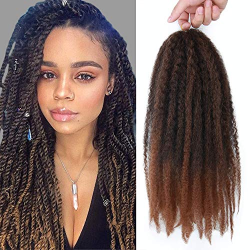 GX Beauty 4 Packs Marley Hair Afro Kinky Curly Crochet Hair 18 Inch Long Marley Twist Braiding Hair Ombre Kanekalon Synthetic Marley Braids Hair Extensions for Women(1B-30#)