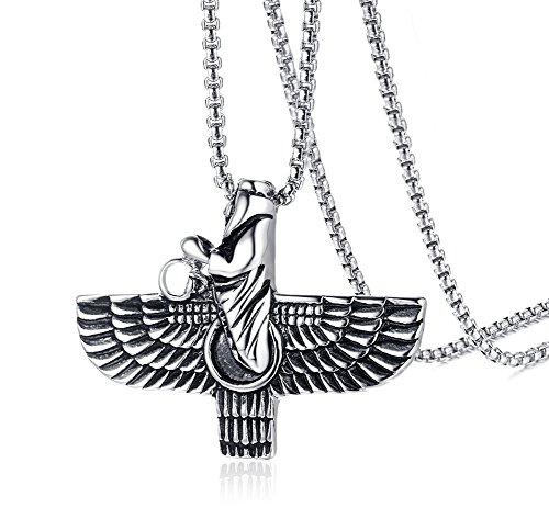 VNOX Herren Antike Edelstahl Achaemenid Reich Symbol Ahura Mazda Anhänger Religiöse Halskette,Freie Kette